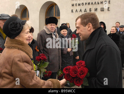 27 January 2008 Dmitry Medvedev First Deputy Chairman of the Russian government in the foreground visiting Piskaryovskoye - Stock Photo