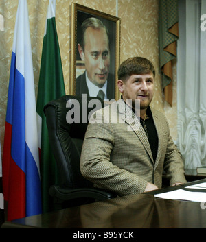 Chechen President Ramzan Kadyrov replied to questions from compatriots in Russia and abroad during an online conference - Stock Photo