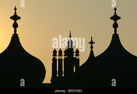 ENGLAND East Sussex Brighton The Royal Pavilion Architecture Detail onion domes silhouetted at sunset - Stock Photo