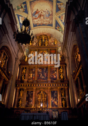 SPAIN Madrid State El Escorial Palace of San Lorenzo de El Escorial Main altar in Monastery Church created by King - Stock Photo