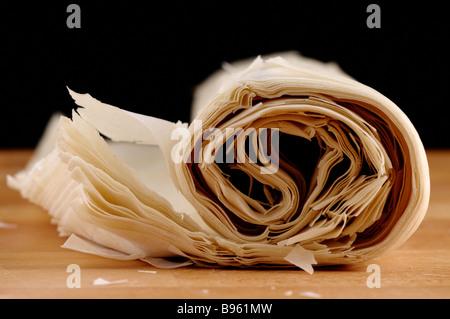 Ready made dough leaves fillo phyllo used for baklava banitsa - Stock Photo