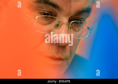 Gennady Batanov head of the Russian Pension Fund at a news conference - Stock Photo