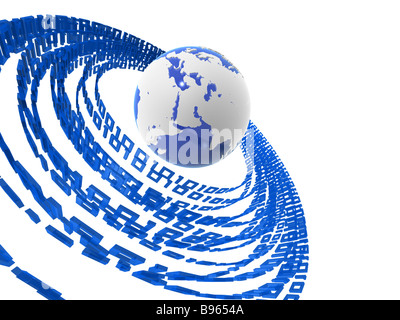 globe and binary numbers - Stock Photo
