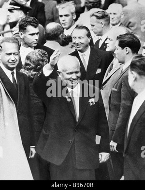 First Secretary of the CPSU Central Committee and Chairman of the USSR Council of Ministers Nikita Khrushchev center - Stock Photo