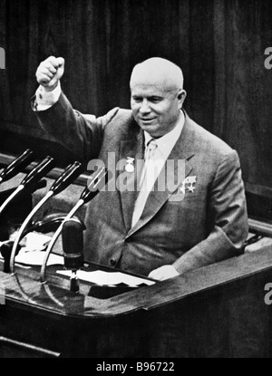 First Secretary of the CPSU Central Committee Nikita Khrushchev 1894 1971 speaking at the third congress of Soviet - Stock Photo