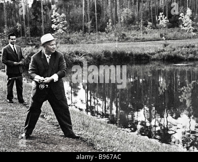 First Secretary of the CPSU Central Committee Nikita Khrushchev 1894 1971 having rest in the country - Stock Photo