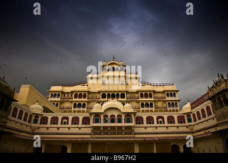 City Palace, next to the renowned Hawa Mahal, in the Pink City, Jaipur, India on a stormy day in the monsoon season. - Stock Photo