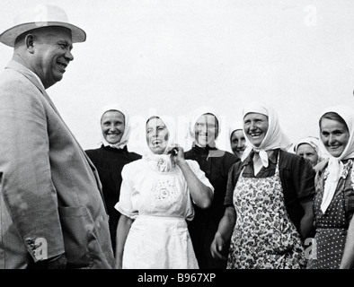 First Secretary of the CPSU Central Committee Nikita Khrushchev 1894 1971 meeting with collective farmers during - Stock Photo