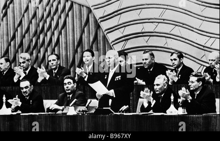 First Secretary of the CPSU Central Committee Nikita Khrushchev standing Chairman of the Presidium of the USSR Supreme - Stock Photo