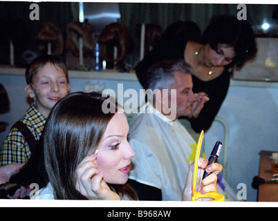 Actors of the musical Nord Ost before the beginnng of the play whose new version was shown to Muscovites before - Stock Photo