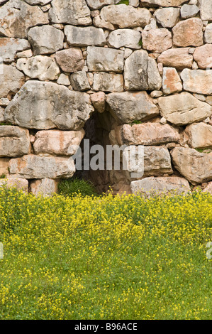 The cyclopean walls of the Mycenaean citadel of Tiryns situated between Argos and Nafplio in the argolid Peloponnese - Stock Photo