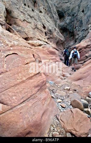 Hiking in Little Wild Horse Canyon Utah USA - Stock Photo