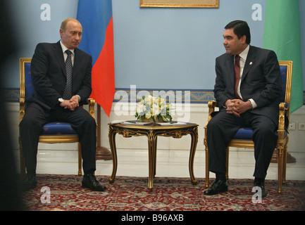 October 16 2007 Russian President Vladimir Putin left and Turkmenistan President Gurbanguly Berdymukhammedov meet - Stock Photo