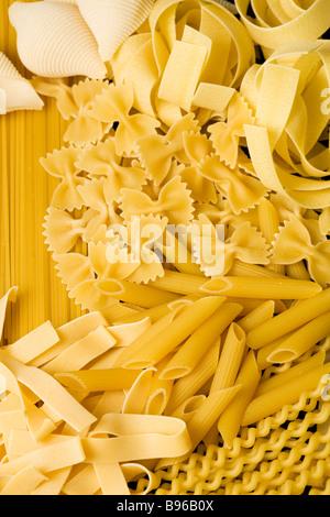 assorted pasta background - Stock Photo