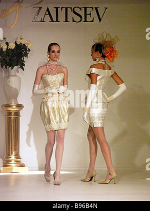 Vyacheslav Zaitsev s new collection Haute couture 2005 which he will present at Fashion Week in Paris - Stock Photo