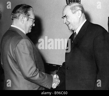 President Josip Broz Tito left of Yugoslavia and Chairman of the U S S R Council of Ministers Nikolai Baibakov right - Stock Photo