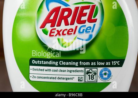 Plastic bottle of Ariel low temperature washing powder gel UK