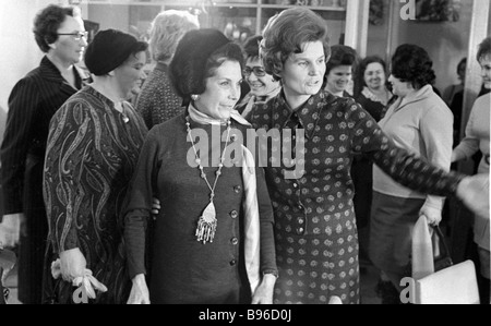 Chairperson of the Soviet Women s Committee space pilot of the USSR Valentina Tereshkova right meets with the Chile - Stock Photo