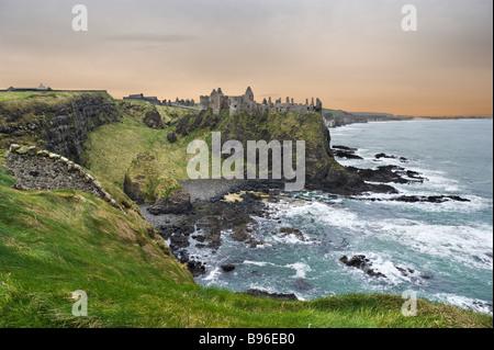 Dunluce Castle, North Antrim Coast, County Antrim, Northern Ireland - Stock Photo