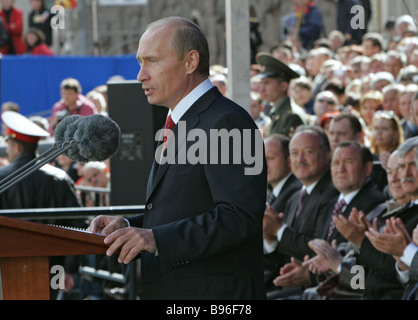 September 2 2007 Russian President Vladimir Putin addressing an audience during the celebrations of the 860th anniversary - Stock Photo