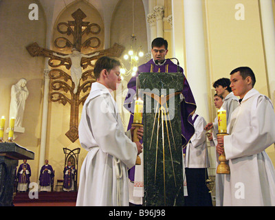 Mass at the Cathedral of the Immaculate Conception of the Blessed Virgin Mary in Moscow - Stock Photo