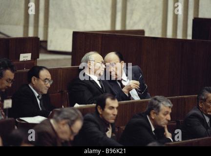 KGB chairman Vladimir Kryuchkov left and CPSU Central Committee Secretary Alexander Yakovlev - Stock Photo