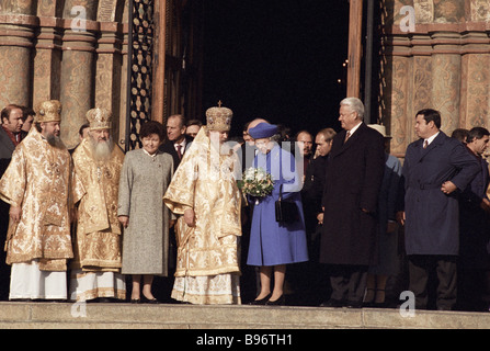 Queen Elizabeth II of the United Kingdom of Great Britain and Northern Ireland in the Moscow Kremlin s Assumption - Stock Photo