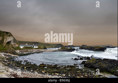 The harbour at Ballintoy on a bleak winter's day, North Antrim Coast, County Antrim, Northern Ireland - Stock Photo
