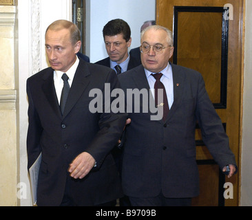 President Vladimir Putin before a meeting with his empowered persons in the Moscow State University MGU On the right - Stock Photo