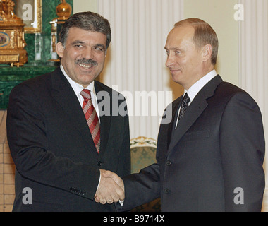 Russian President Vladimir Putin met with Turkish Foreign Minister Abdullah Gul the former came to Russia with the - Stock Photo
