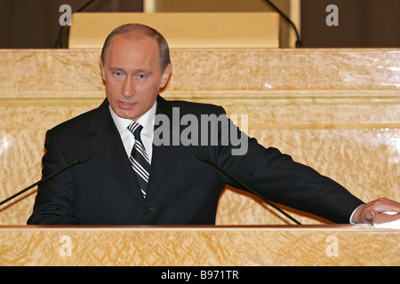 Russian President Vladimir Putin delivers annual state of the nation address before the Federal Assembly Parliament - Stock Photo