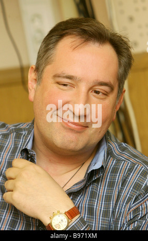 Dmitry Rogozin Congress of Russian Communities leader and State Duma member in a radio livecast on expressing civil - Stock Photo