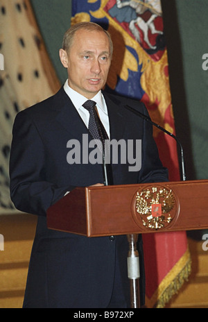 Russian President Vladimir Putin addresses graduates of military academies and universities at an official reception - Stock Photo