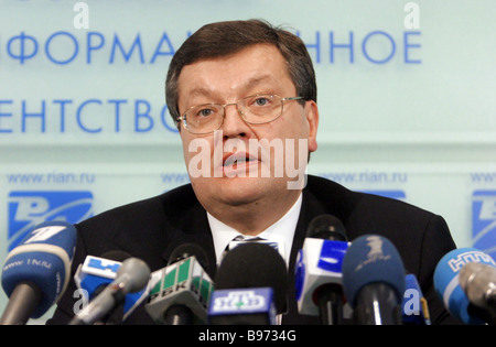 Ukrainian Foreign Minister Konstantin Grishchenko at a press conference in RIA Novosti - Stock Photo
