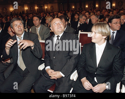 From left to right Berlin Burgomaster Klaus Wowereit Moscow Mayor Yury Luzhkov and his wife Yelena Baturina a prominent - Stock Photo