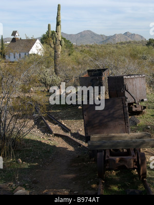 Pioneer Living History Village Museum mining cars and church in the desert of Phoenix, Arizona, USA.  Old Pioneer - Stock Photo