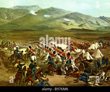 THE CHARGE OF THE LIGHT BRIGADE in the Crimea in 1854 shown in a contemporary engraving - Stock Photo