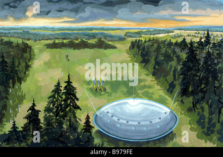 A picture of a UFO painted by artist Malyshev after a close encounter near Moscow in the summer of 1975 - Stock Photo