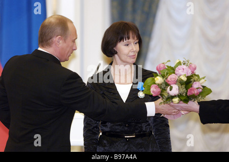 Russian President Vladimir Putin awarding the Order of Honor to Yevgeniya Simonova People s Artiste of Russia in - Stock Photo