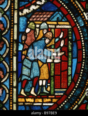 Knights at the cathedral door panel 7corpus 13 window No VII 13th century Trinity Chapel Canterbury Cathedral - Stock Photo