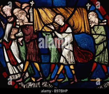 Plague cortege household of Jordan Fitz Eisulf window II panel 9 Trinity Chapel Canterbury Cathedral - Stock Photo