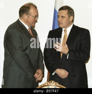 Russian Prime Minister Mikhail Kasyanov right and Swedish Prime minister Goran Persson left after the talks during - Stock Photo