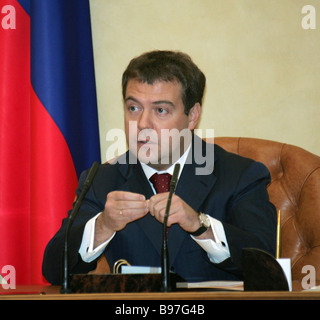 First Vice Premier Dmitri Medvedev at a sitting of the Council presidium under the president held at Government - Stock Photo