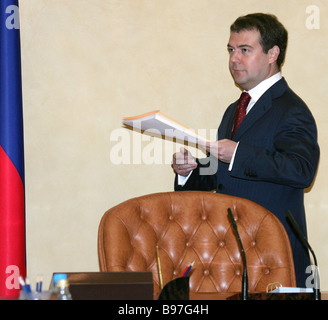 First Vice Premier Dmitri Medvedev at a sitting of the presidium of Priority National Projects Implementation Council - Stock Photo