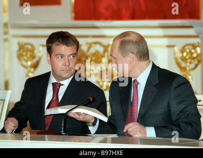 n the Grand Kremlin Palace President Vladimir Putin and First Vice Premier Dmitri Medvedev right to left at a sitting - Stock Photo