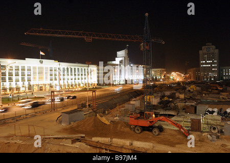 The Minsk City Executive Committee and an underground shopping center project on Minsk s Independence Square - Stock Photo