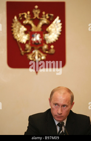 July 24 2007 Russian President Vladimir Putin meeting with government members at the Zavidovo presidential country - Stock Photo