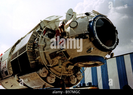 The ISS International Space Station first element Zarya functional cargo unit FGB developed and manufactured by - Stock Photo