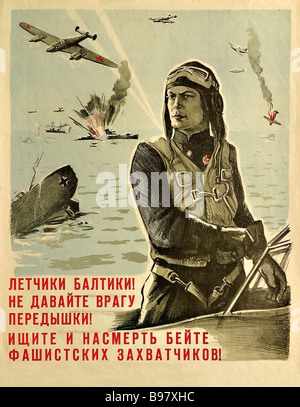 Boim s poster Baltic Pilots Give Enemy no Respite Find Out and Kill Fascist Invaders 1944 - Stock Photo