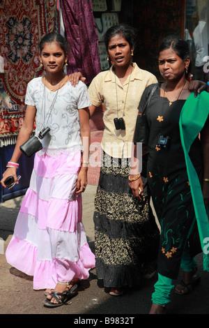 India Kerala Kochi Mattancherry Jew Town women - Stock Photo